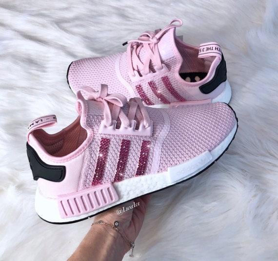 Swarovski Womens Adidas NMD R1 Clear PinkWhite Core Black customized with Rose SWAROVSKI® Xirius Rose Cut Crystals.