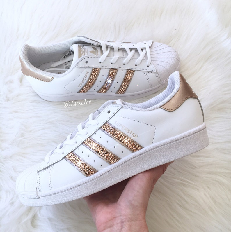 00483a2eaa Adidas Originals Superstar White/Rose Gold with SWAROVSKI® | Etsy