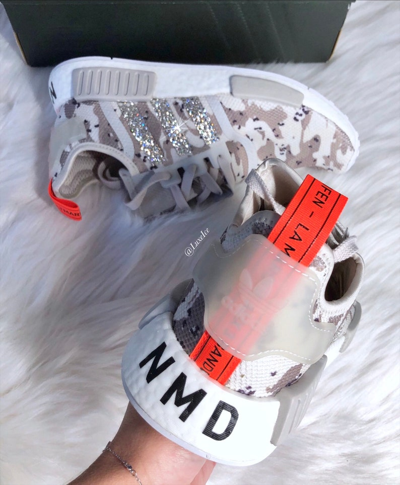 ed5a5bf1ee2f6 Swarovski Adidas NMD Tan Camo Runner Casual Shoes White  Camo