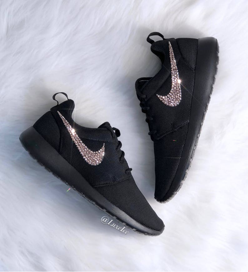 new design special sales release date: Women's Swarovski Nike Roshe One - Black customized with Rose Gold  SWAROVSKI® Xirius Rose-Cut Crystals.