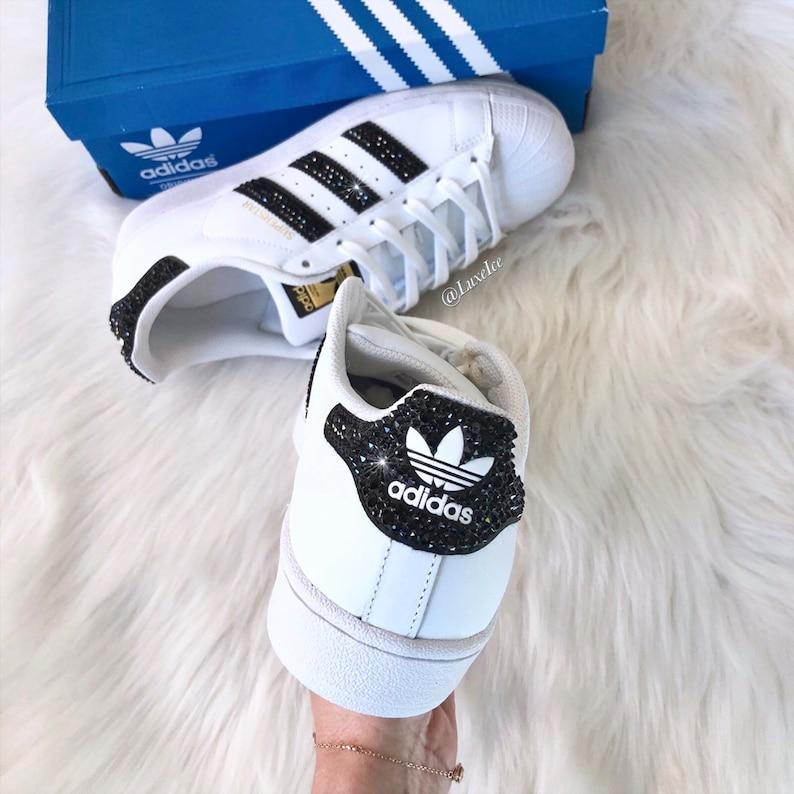 buy online 6317c 75207 Swarovski Adidas Superstar-bianco nero bianco-con cristalli   Etsy