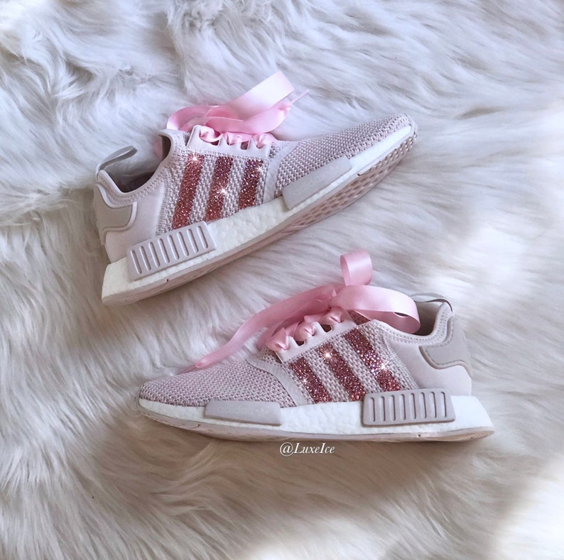 95cd8b277e99f Swarovski Adidas NMD R1 Casual Shoes Orchid Tint/White customized with  Light Pink SWAROVSKI® Xirius Rose-Cut Crystals.