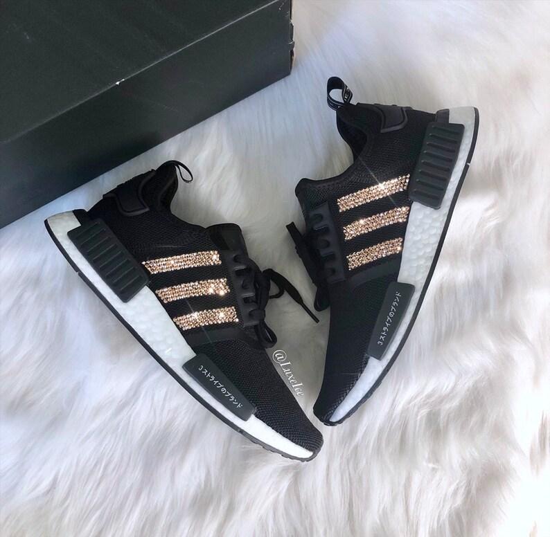 quality design 4f6df 1858f Swarovski Womens Girls Adidas NMD R1 Black customized with Rose Gold  SWAROVSKI® Xirius Rose-Cut Crystals Bling.