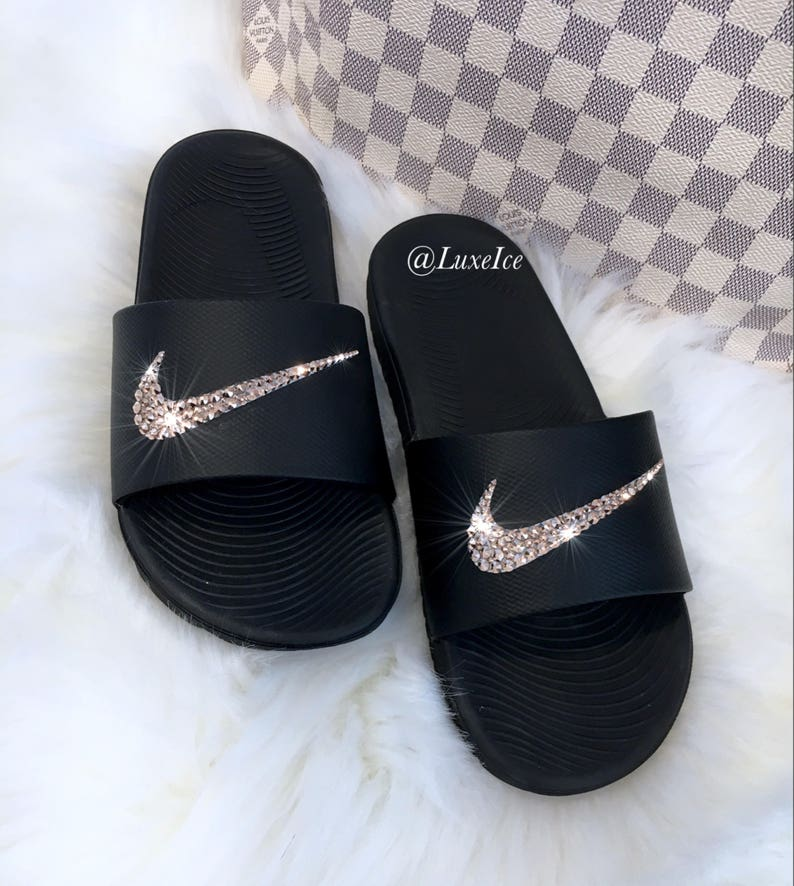 4eace97612449 Swarovski Nike KAWA Slides Black Flip Flops customized with