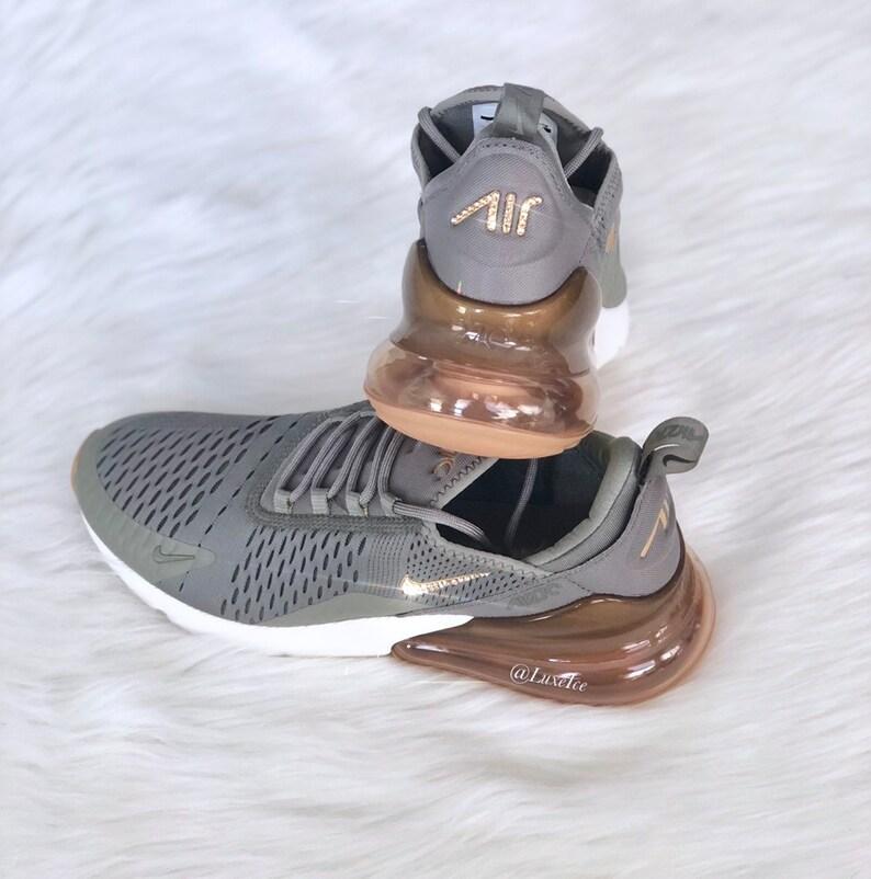 Swarovski Nike Air Max 270 Shoes Dark StuccoMetallic GoldSail customized with Swarovski Crystals.