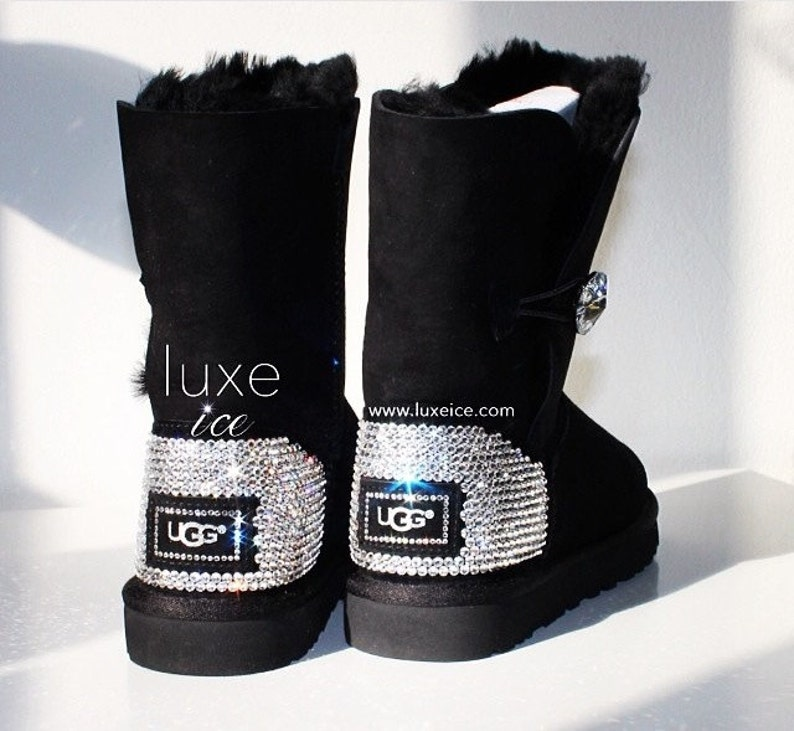 31e52db5c90 Ugg Boots Bailey Button Bling- Black with Swarovski Crystals