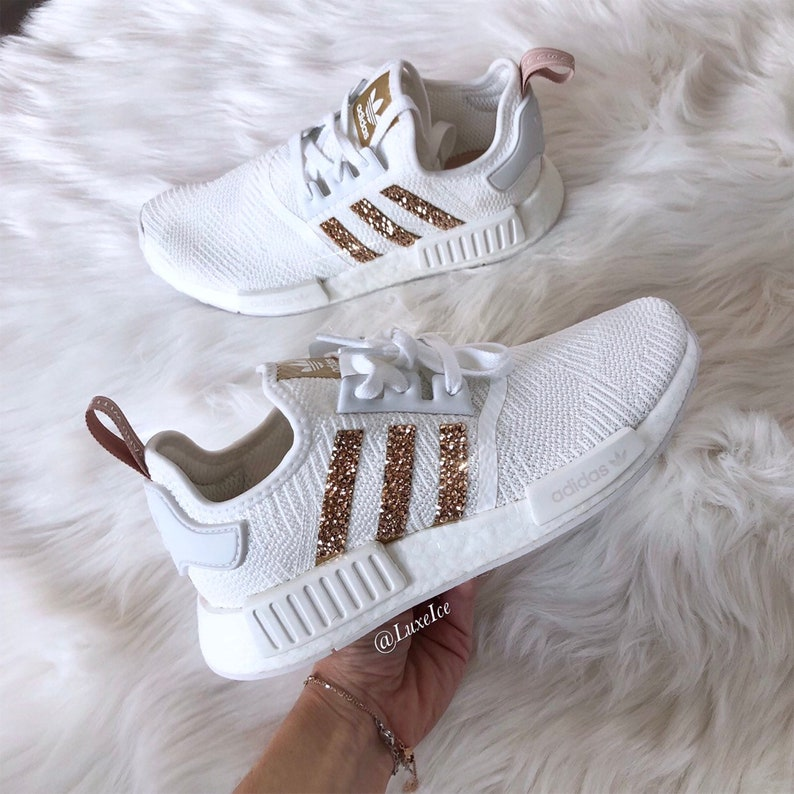 2f23a7bf7 Swarovski Adidas NMD R1 White Copper Metallic made with