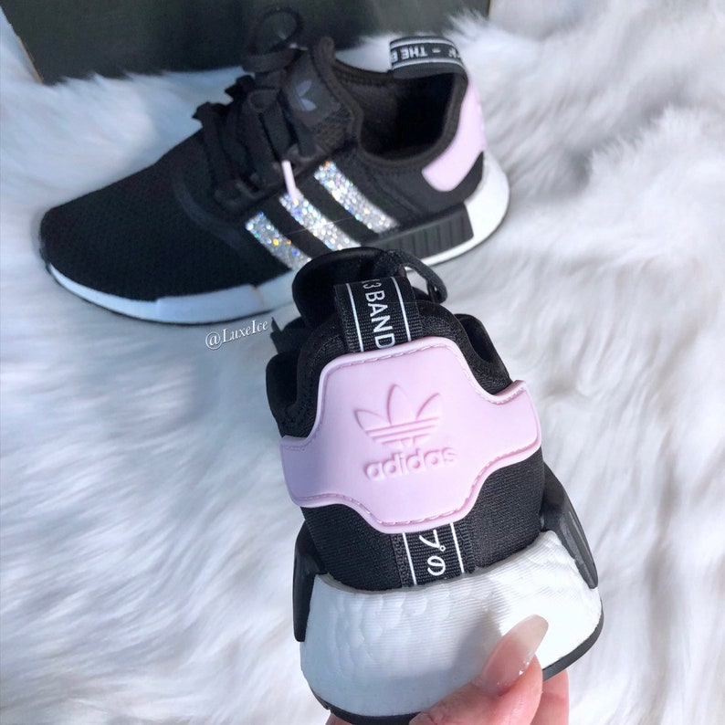 reputable site 5215d 1a05c Swarovski Adidas NMD R1 Clear Pink/White/ Core Black customized with Rose  SWAROVSKI® Xirius Rose-Cut Crystals.