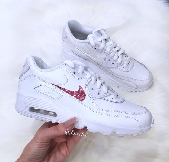 96303a30b02a Swarovski Nike Air Max 90 White customized with Rose Pink