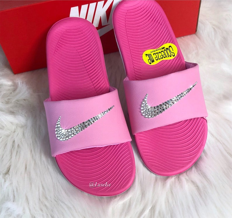 958082022c7a Swarovski Nike KAWA Slides Pink Flip Flops customized with
