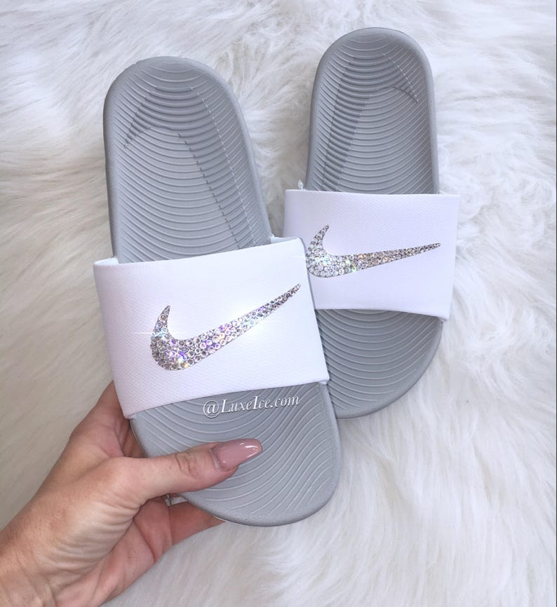 promo code fc0f6 3df94 Swarovski Nike KAWA Slides Sandals White customized with   Etsy