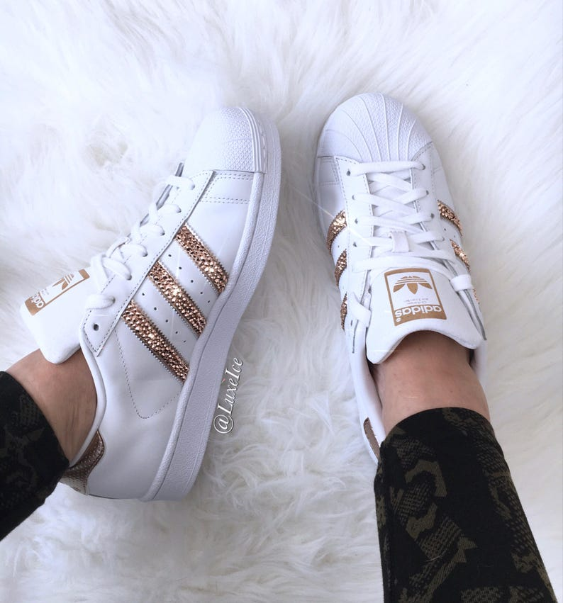 Originals des SWAROVSKI® or Rose blancRose cristaux avec Superstar Adidas Xirius Cut qUSzVMpG