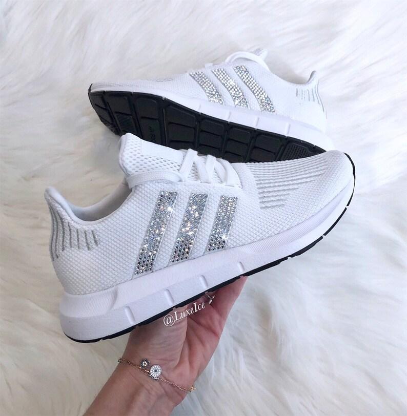 Swarovski Women's Adidas Swift Run Casual Shoes customized with Swarovski Crystals.