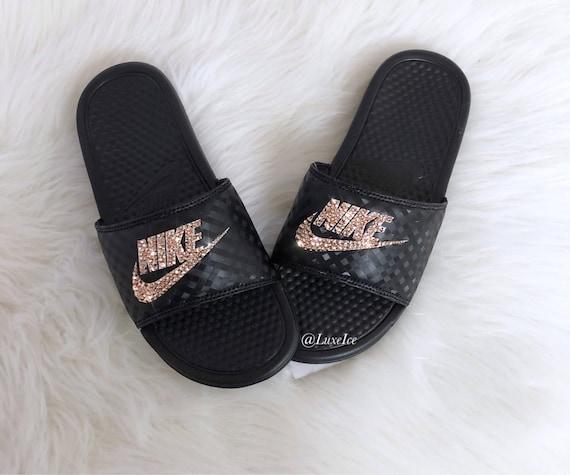 Women's Swarovski Nike Benassi JDI Slides Sandals customized with Rose Gold Swarovski Xirius Cut Crystals.