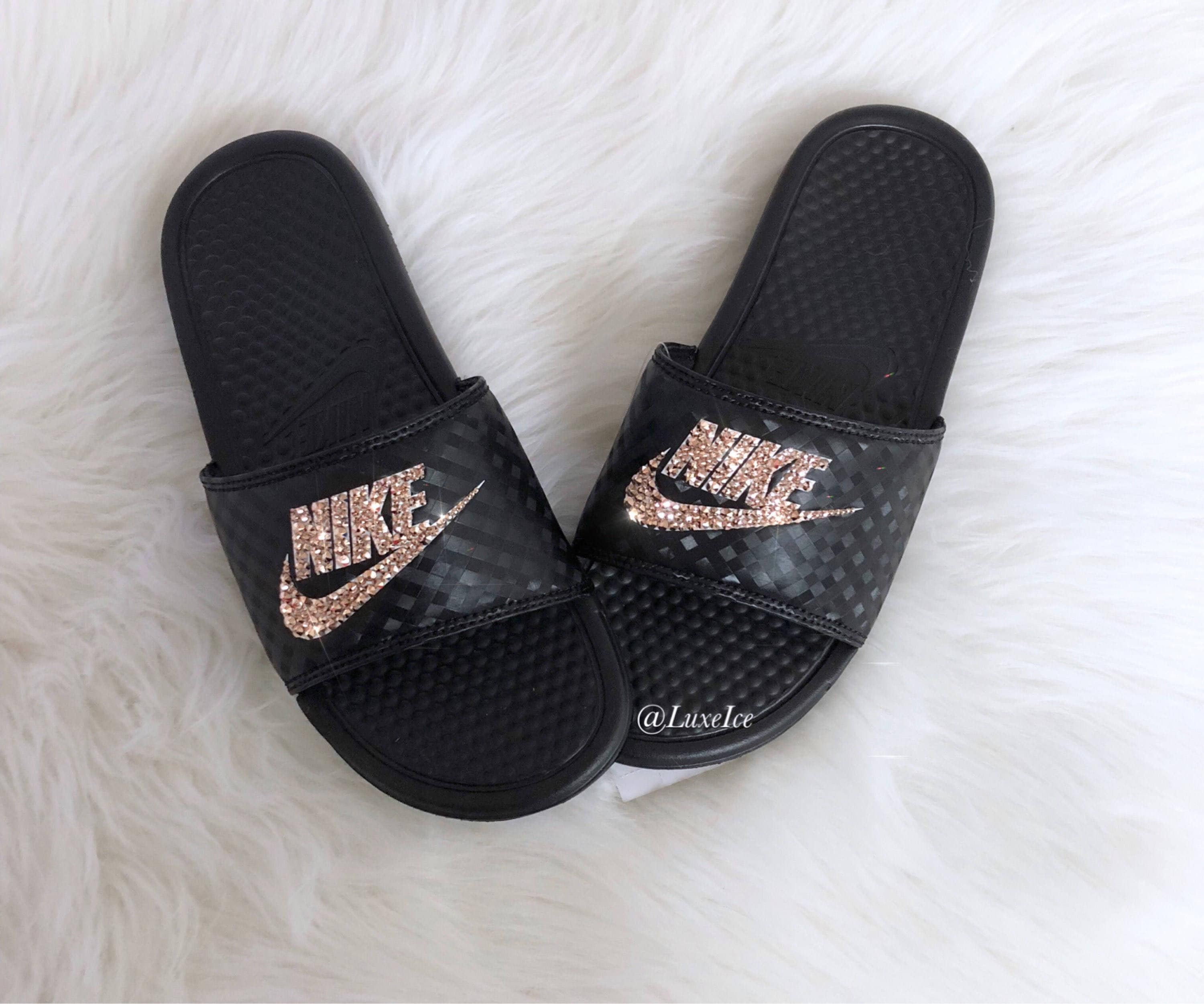 low priced 3160d 72493 Women's Swarovski Nike Benassi JDI Slides Sandals customized with Rose Gold  Swarovski Xirius Cut Crystals.