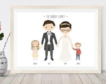Custom portrait wedding gift, family illustration, cartoon portrait wedding, bride and groom, personalised gift for bridesmaids