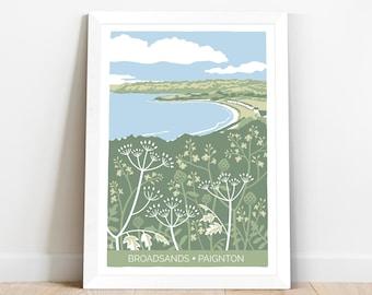 Broadsands beach in Paignton, Devon - coastal themed art print