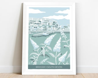 Coastal art print Brixham Harbour in South Devon