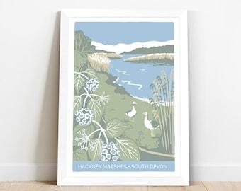 Nature illustration of Hackney Marshes in South Devon