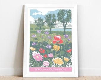 Travel poster of Italian gardens in Torquay, Devon with wildflowers