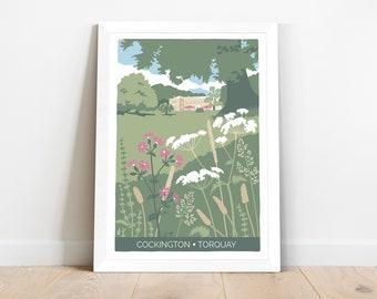 Wildflower print, Cockington Court in Torquay, Devon