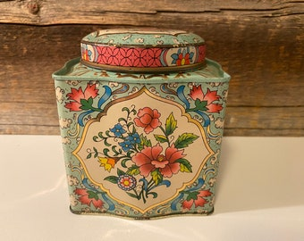 Vintage Daher Floral Tin, Pink and Turquoise Floral Tin, Made in England, Daher Floral Tin, Circle Top Lid, Vintage Candy Tin