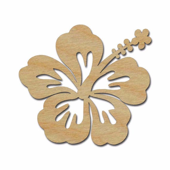 Hibiscus Flower Shape Wood Cutout Wooden Flower Wall Decor | Etsy