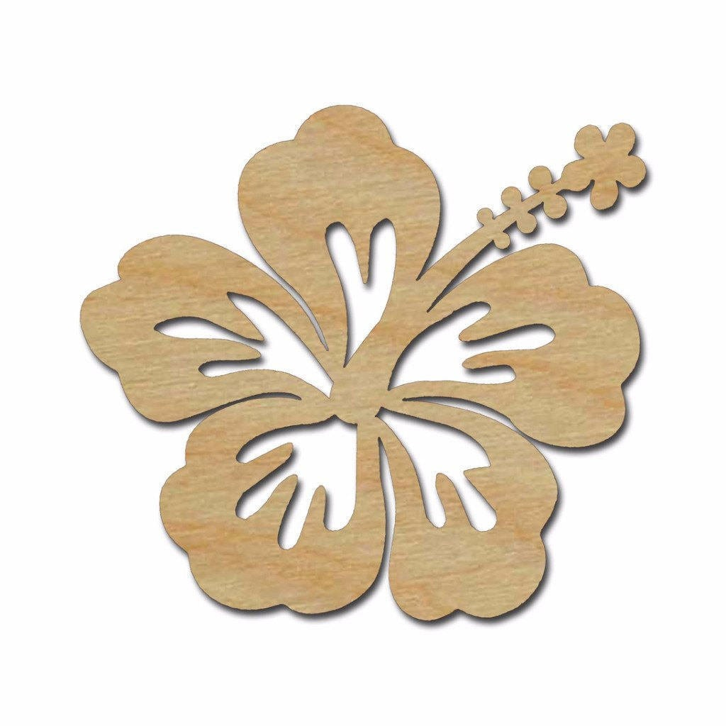 Hibiscus Flower Shape Wood Cutout Wooden Flower Wall Decor | Etsy
