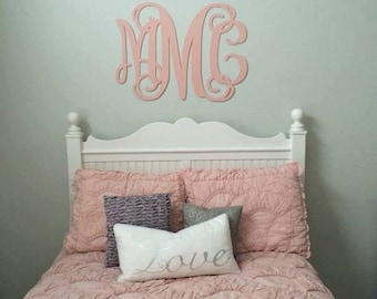 Large Wooden Monogram Wall Hanging Painted Initials Photo Prop Graduation Gift Wedding Nursery Bedroom Baby Dorm Decor - all sizes