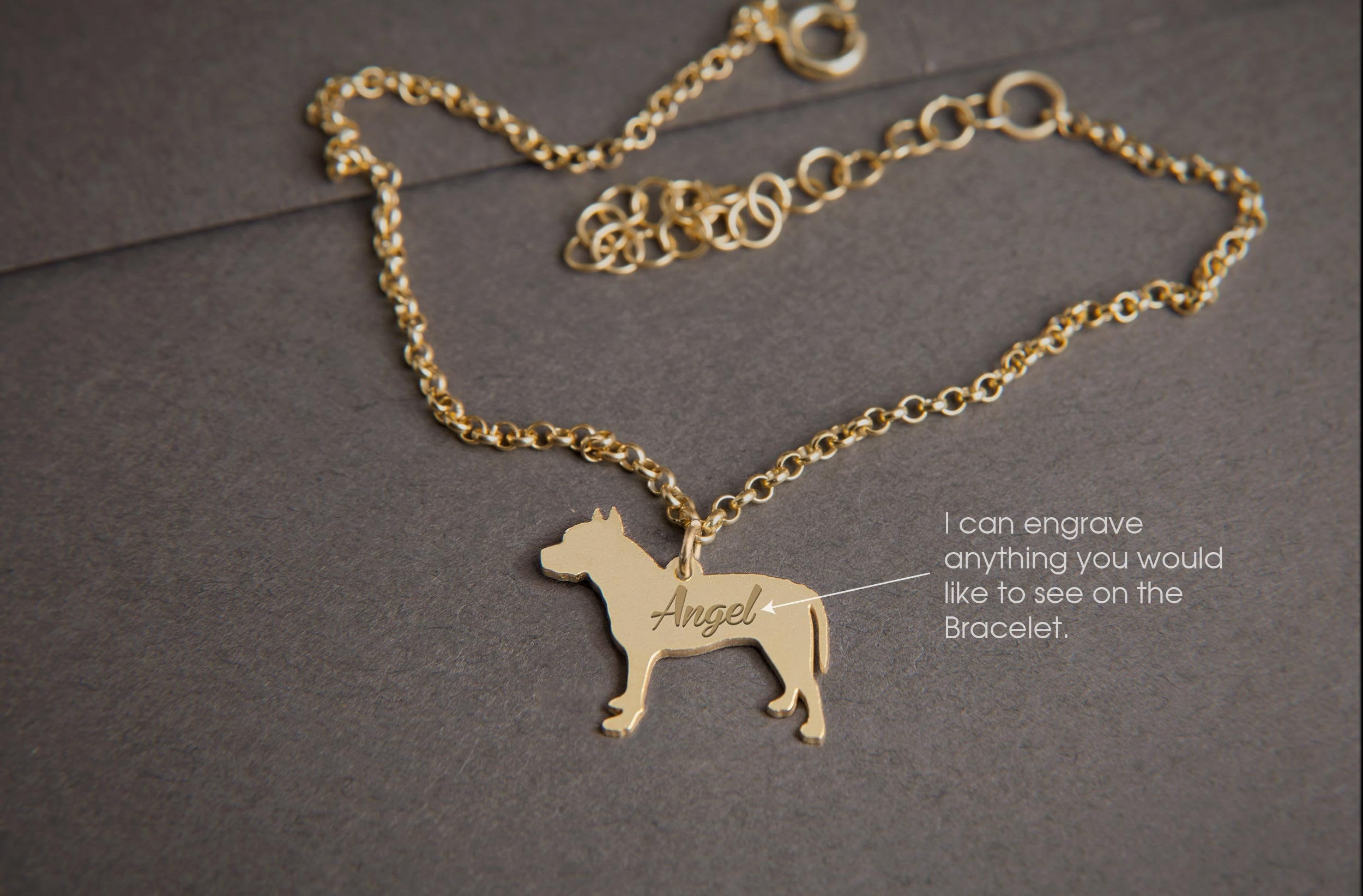 PIT BULL TERRIER Personalised Tiny Silver Bracelet - Pit Bull Bracelet -  925 Sterling Silver, Gold Plated or Rose Plated