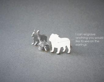 ENGLISH BULLDOG NAME Earring - English Bulldog Name Earrings - Personalised Earrings - Dog Breed Earrings - Dog Earring