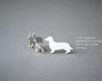 DACHSHUND LONGHAIRED NAME Earring - Dachshund Name Earrings - Doxie Earrings - Dog Breed Earrings - Dog Earring