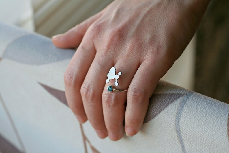 Gold Plated or Rose Plated. Adjustable Spiral PITBULL BIRTHSTONE Ring  Pitbull Birthstone Ring  Birthstone Ring  Dog Ring  Silver