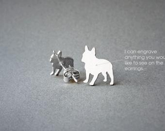 FRENCH BULLDOG NAME Earring - French Bulldog Name Earrings - Personalised Earrings - Dog Breed Earrings - Dog Earring