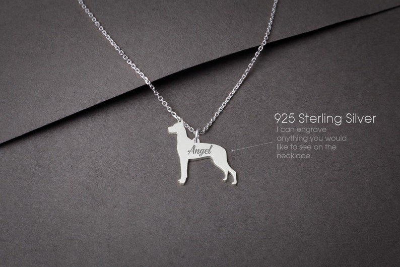 GREAT DANE Personalised Tiny Silver Necklace Gold Plated or Rose Plated 925 Sterling Silver Great Dane Necklace