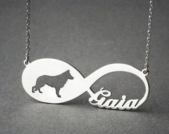 Personalised INFINITY GERMAN SHEPHERD Necklace • German Shepherd • Name Necklace • Custom Necklace • Shepherd necklace • Dog Necklace