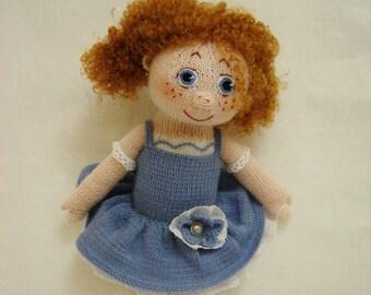 Ballerina Dancer Doll Ballerina Doll Knitted toy Ballerina art Doll to the girl Knitted doll Doll in blue Interior doll For decoration