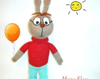 Rabbit Knitted toy Rabbit toy Plush rabbit Clever rabbit Raised rabbit Rabbit art Сartoon character Gift to children Toy animal  Нandmade