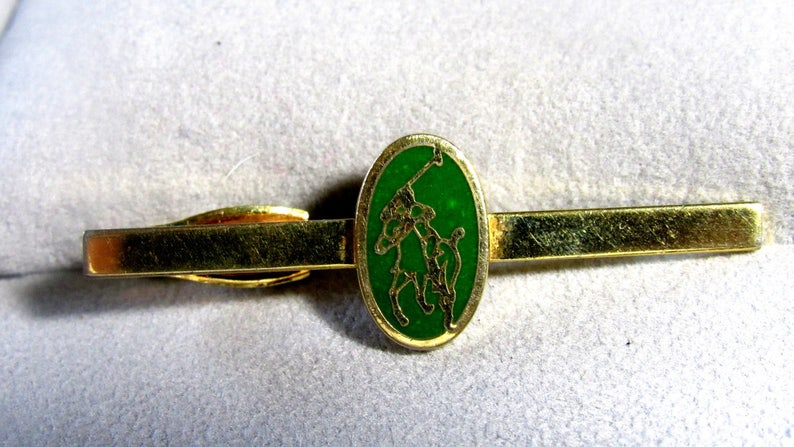 Vintage Shiny POLO Game On Green With Horse /& Rider Clip On Tie Bar Clip Clasp Gold Plate 2 Long
