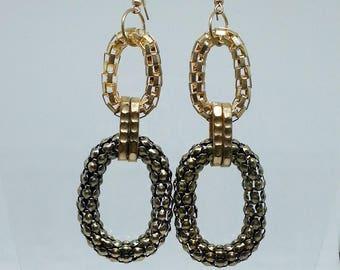 Vintage earrings chain hoop gold Dangle hoops Vintage jewelry Hoops earrings Chain hoops earrings Wife jewelry gift Girlfriend party jewelry