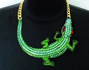 Vintage crystal Crocodile necklace Necklace for women Crystal necklace Vintage jewelry Large green rhinestone necklace