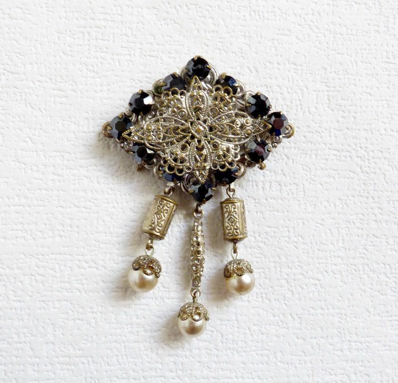 bc756f59d Art Deco Brooch Vintage Czech Filigree Pin Brooch Vintage   Etsy