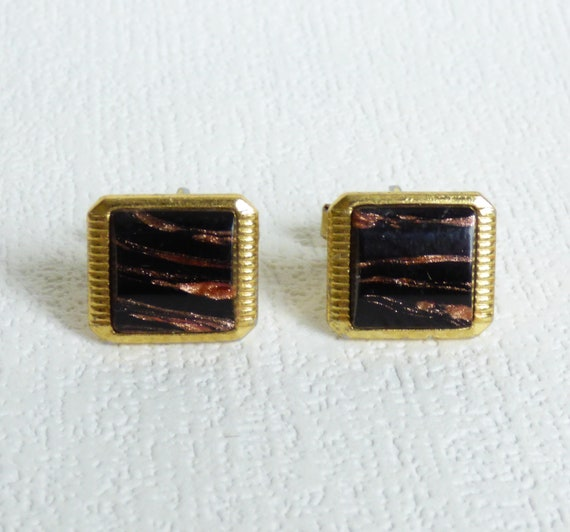 Soviet double cufflincswith natural stones Vintage cufflinks Gift for Him Father gift Father of the bride Soviet Union Soviet Vintage