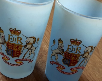 Antique Vintage Southampton Town glasses Coronation of Queen Elizabeth II June 2nd 1953