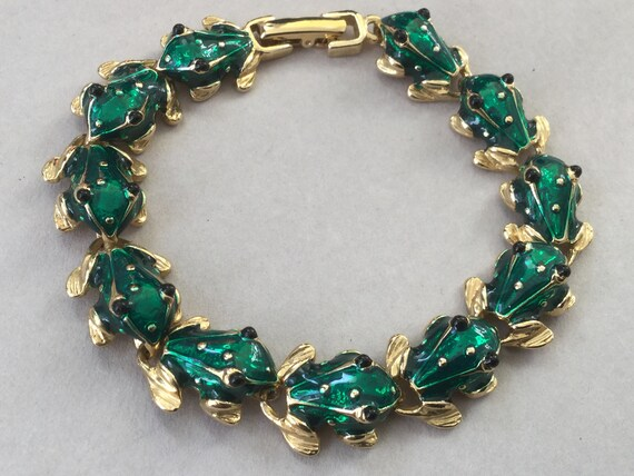 Joan Rivers Green Frog Gold Tone Link Bracelet
