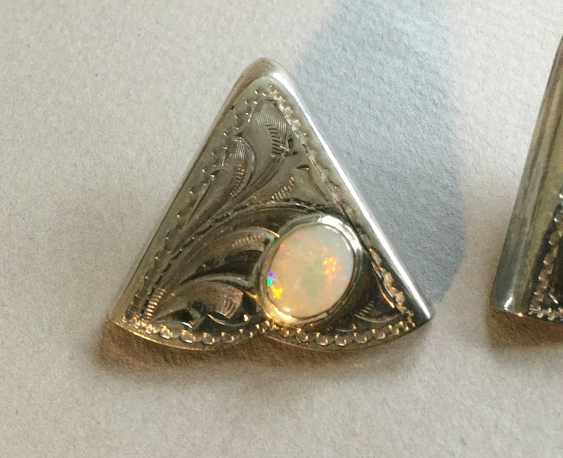 Sterling Silver Etched Precious Opal Collar Tips