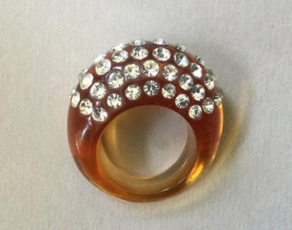 Lucite/Acrylic Honey Amber Rhinestone Ring Size 7