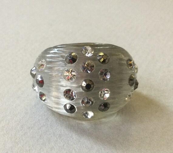Lucite/Acrylic Silver Smoke Rhinestone Dome Ring S