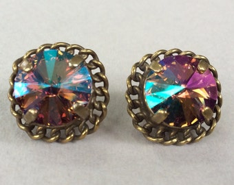 Sorrelli Gold Tone Swarovski Volcano Rivoli Cut Pierced Earrings