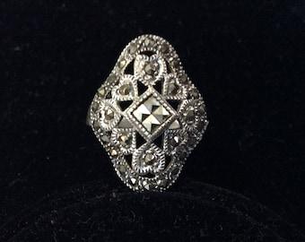 DBJ Sterling Silver Filigree Marcasite Ring Size 7 1/4